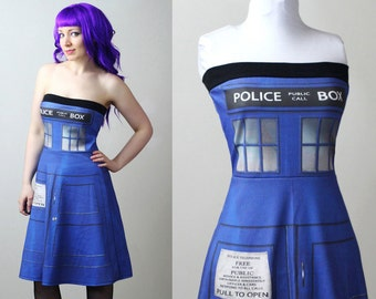 DOCTOR WHO Tardis police box dress - custom - smarmyclothes cosplay costume