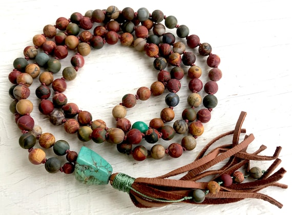 Boho Mala Beads - Red Creek Jasper & Turquoise Mala - Root Chakra Tassel Necklace - Unisex Mala Beads - Yoga Jewelry, Meditation Beads