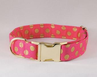Valentine's Day Pink and Gold Polka Dot Dog Collar