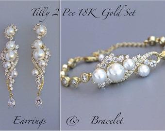 Pearl Wedding Set, Gold Jewelry Set, Earrings & Bracelet Bridal Set, 18K Gold Set, Gold Wedding Jewelry Set, TILLY