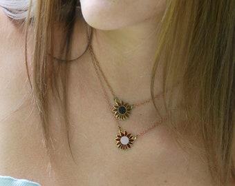 Enamel flower pendant necklace,vintage pendant,boho necklace,bohemian necklace,layering necklace,daisy necklace,hippie necklace,70s style