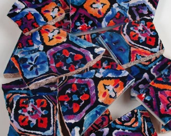 Ceramic Mosaic Tiles Random Cuts - Batik Floral Design Blue Purple Pink Orange Mosaic Tile Pieces - 20 Pieces /Mosaic Art / Mixed Media