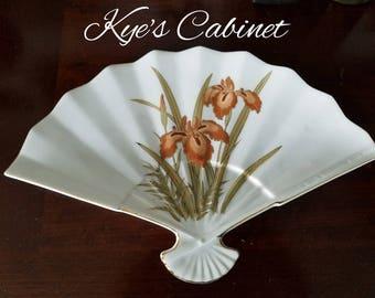 Fine China Decorative Fan Shape Porcelain Plate, Hand Painted Orange Iris Trinket Dish Made in Japan