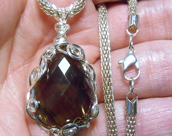 large 29 ct. Smokey Quartz faceted teardrop pendant,  hand wrapped silver paraWire setting