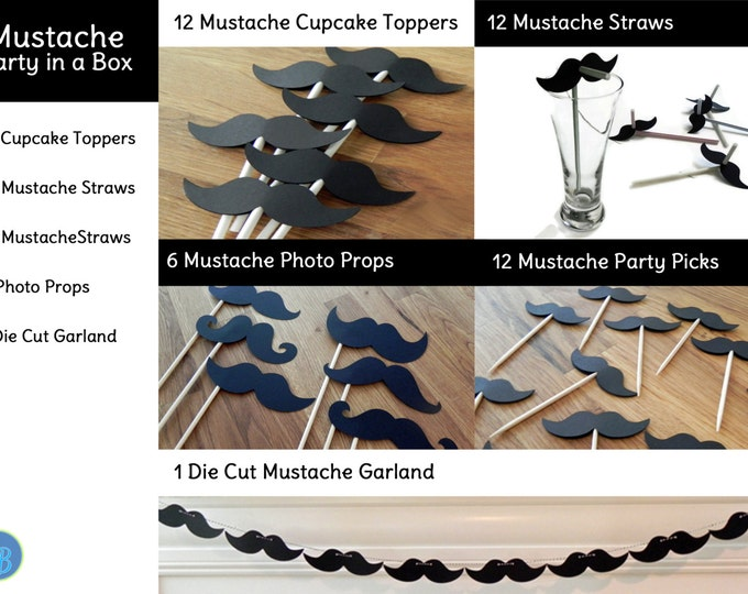 Mustache Party in a Box - Little Man Mustache Bash Decorations Party Package Set die cut mustache black