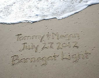 Beach Writing Love Names in the Sand at the Jersey Shore  PRINTED