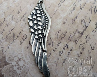 925 Sterling Silver Angel Wing Artisan Charm Pendant - 45mm - Faith Peace Zen Inspirational Bracelet Necklace Supply - Central Coast Charms