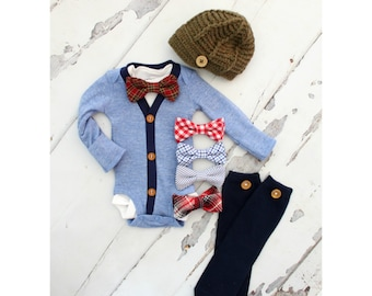 Newborn Baby Boy Coming Home Outfit Set of up to 4 Items. Cardigan Bodysuit, Bow Tie Bodysuit, Leg Warmers & Knit Newsboy Hat. Summer
