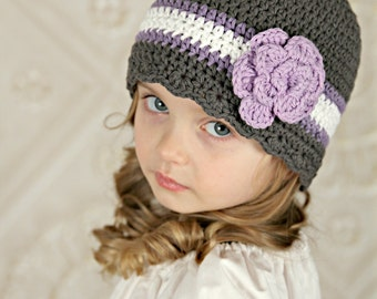 9 Sizes Gray Hat Baby Hat Baby Girl Hat Toddler Hat Toddler Girl Hat Womens Hat Crochet Flower Hat Lavender White Lightweight Hat Spring