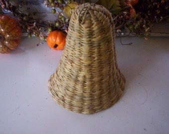 Fall Bell basket/wickerl baskek/Bell Shaped basket/Christmas basket/Holiday basket/Natural Vintage basket/Hand Woven basket/fall decor