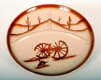 Tepco China Restaurant Ware Divided Grill Plate in Broken Wagon Wheel Pattern
