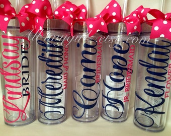 Set of 5:  Personalized Bride, Bridesmaid, Flower-girl,  Mother of Bride, Mother of the Groom tumbler bridal party gifts