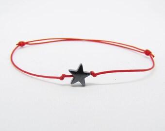 Kabbalah bracelet - red thread - hematite star - burst of Creation