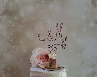 Personalized Vineyard Wedding Cake Topper with Your Initials and Corks Base - for the Wine Lovers - Vineyard Wedding, Rustic Wedding