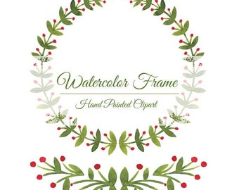Laurel, Watercolor clipart, wreath and border, 2 png files. no background, 300 dpi, high resolution
