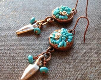 On Sale 25% off, Turquoise copper earrings, turquoise southwest earrings, turquoise and arrowhead earrings, southwestern boho jewelry