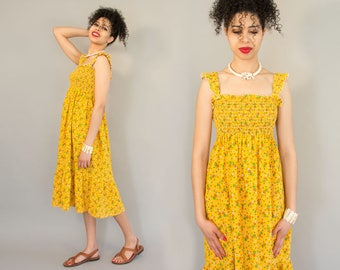 70s Calico Sundress - Vintage Seventies Yellow Floral Sleeveless Boho Dress with Ruffled Hem and Tube Top Romantic Bohemian Dress Size 6