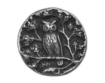 Owl 5/8 inch ( 17 mm ) Susan Clarke Metal Button Antique Silver Color