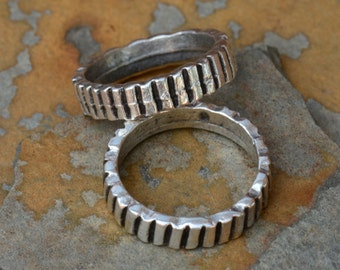 1 Greek Pewter Ridged Ring