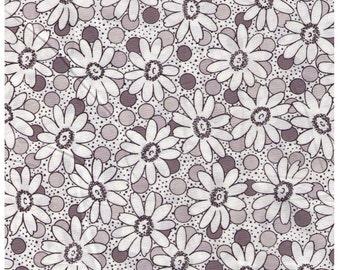 HALF YARD Yuwa - Suzuko Koseki - Daisies and Dots on White - Black and Grey - Japanese