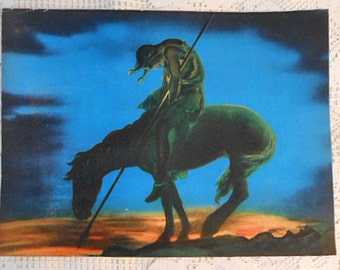 END of TRAIL Original Litho Print, Blue Black Sunset, Indian & Horse Silhouette, Native American Defeat Symbol, James E Frazier Art 12 x 16