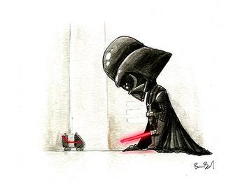 Darth Vader Watercolor Print