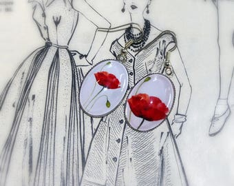 Earrings oval poppies