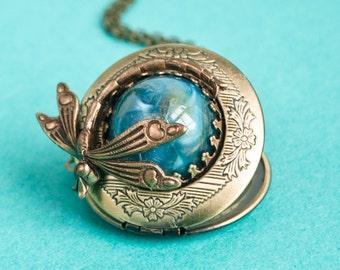 Dragonfly Locket, Vintage Brass Locket Necklace, Secret Locket, Antique Locket, Gift for Her,
