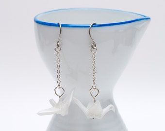 Origami earrings crane in white paper on thin silver chain eco-friendly jewelry -Made to order