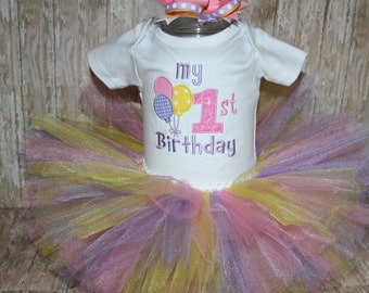 My 1st Birthday Custom appliqued bodysuit with coordinating tutu and hair bow
