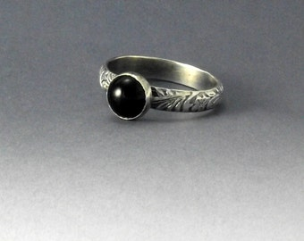 Black Onyx Ring on Floral Patterned Sterling Silver Band, Black Onyx Ring, Silver and Black Onyx Ring, Stacking Ring