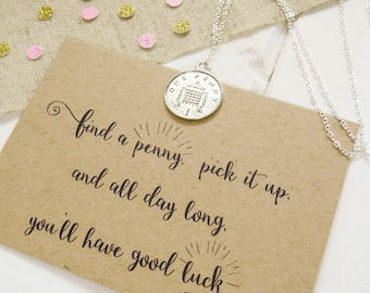 Lucky Penny Necklace - Silver Penny Necklace with Quote Gift Card - Gift for Friend - Good Luck Gift - Silver Coin Necklace