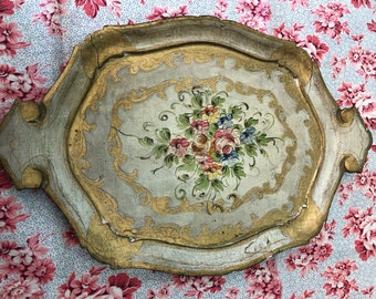 Vintage Florentine tray gold hand painted flowers Italy