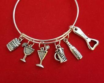 Silver Bartender Themed Charm Bracelet