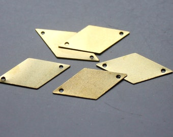 200pcs Raw Brass Rhombus Connectors With Two Hole,Stamping Tags Findings 25.5mm - F123