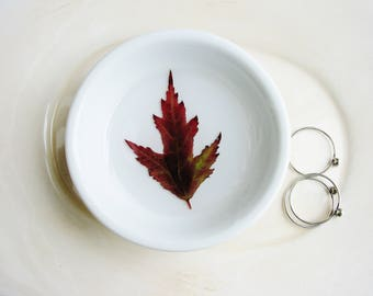 Red Maple Leaf Dish, Ring Dish, Floral Ring Dish