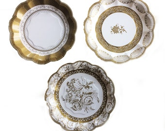 Gold Party Plates -Small | Gold Paper Plate Gold Wedding Tableware Gold Baroque Party 50th Wedding Anniversary Masquerade Great Gatsby PPG