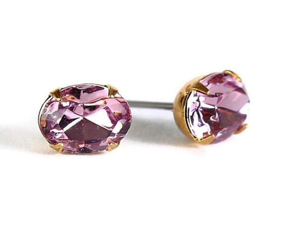 Estate style lavender purple rhinestone crystal stud earrings READY to ship (337)