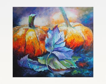 Pumpkins - Impressionism - Original Oil Painting On Canvas