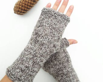 Hand knit cable gloves, knit hand warmers, knitted arm warmers, fingerless gloves, knitted mitts, wool mittens, winter gloves