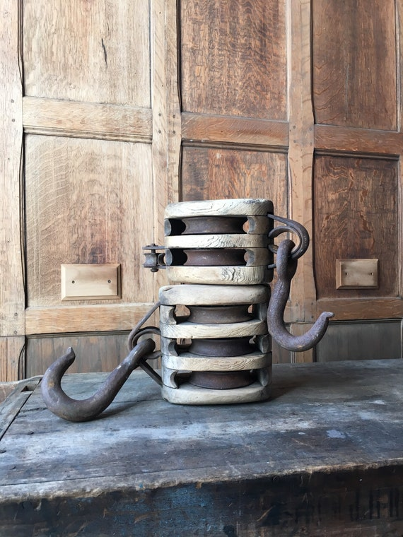 Pair of Antique Wood Pulleys, Large Wood And Iron Pulley Wheels, Rustic Industrial Decor