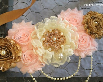 Blush Pink Gold Ivory Maternity Sash, Girl Maternity Sash, Pink Maternity Sash, Maternity Belt, Pregnancy Sash, Flower Sash, Pink Gold Ivory