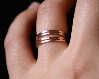 Rose Gold stacking rings, set of 4, rose gold fill stack ring set, rose gold ring stack, hammered rose gold rings, 14k rose gold fill rings