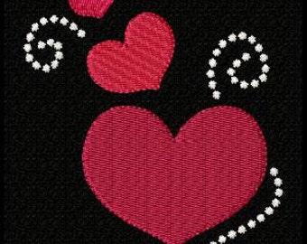Three Hearts Machine Embroidery Design