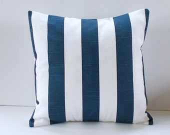Navy and White Striped/Nautical Pillow Cover- Navy and White Decorative Couch Pillow 16x16- Ready to Ship