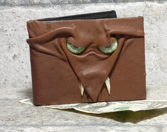Leather Wallet Monster Face Fantasy Magic The Gathering Horror World Of Warcraft  Fathers Day Gift Brown Black 556