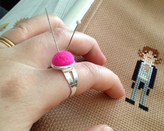 Wool Pincushion Ring - Adjustable