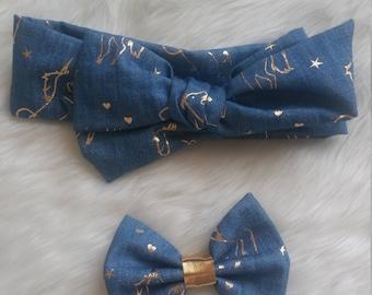 Denim Gold Unicorn Bows