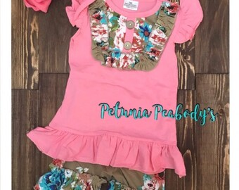 Coral and tan girls ruffle short set. Ready to ship!!