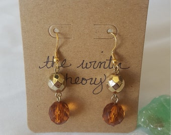Gold and Amber Beaded Earrings
